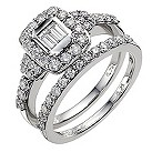18ct white gold one carat diamond cluster bridal ring set - Product number 8937389