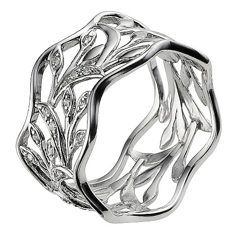 9ct white gold filigree diamond ring