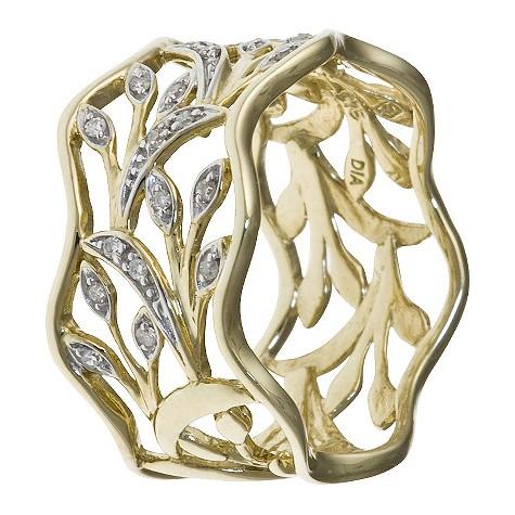 9ct yellow gold diamond filigree leaf ring