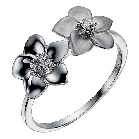 9ct white gold diamond set two flower ring
