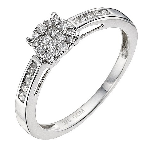 9ct white gold quarter carat cluster ring