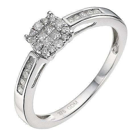 9ct white gold quarter carat cluster ring