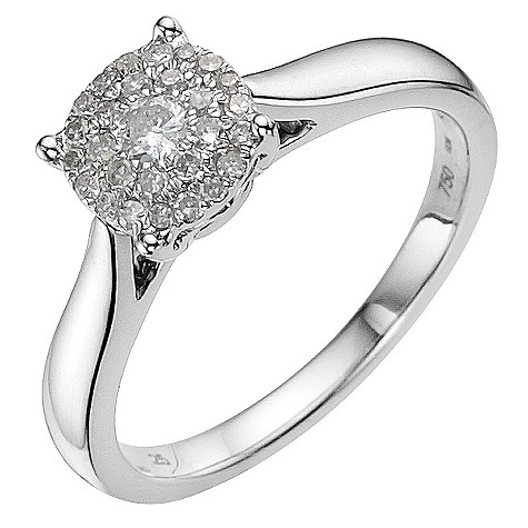 18ct white gold 1/4 carat round diamond cluster ring