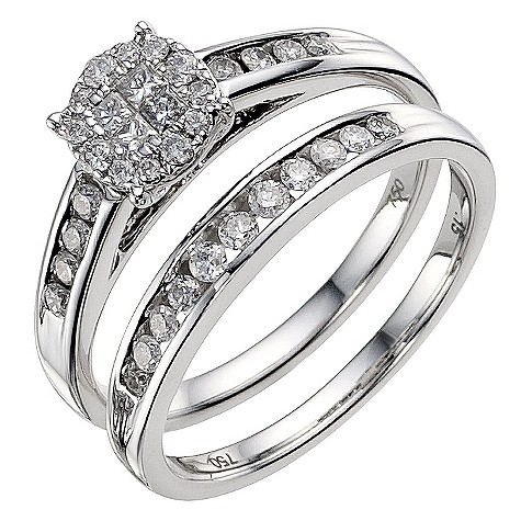 18ct white gold half carat diamond bridal ring set
