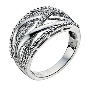 Silver Platinum Plated Cubic Zirconia Crossover Ring Size L - Product number 8941289