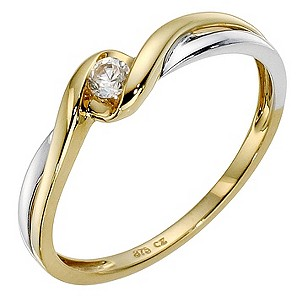 9ct Yellow Gold Cubic Zirconia Wrap Over Ring
