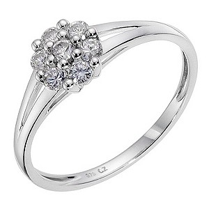 9ct White Gold Cubic Zirconia Small Cluster Ring
