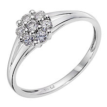 9ct White Gold Cubic Zirconia Small Cluster Ring - Product number 8942129