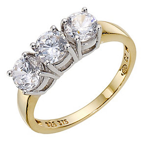 9ct Yellow Gold & Silver Cubic Zirconia Trilogy Ring - Product number 8942560