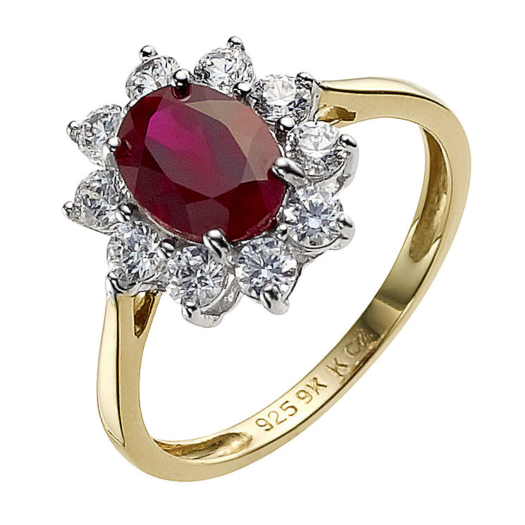 Silver & 9ct Yellow Gold Created Ruby & Cubic Zirconia Ring - Product number 8944555