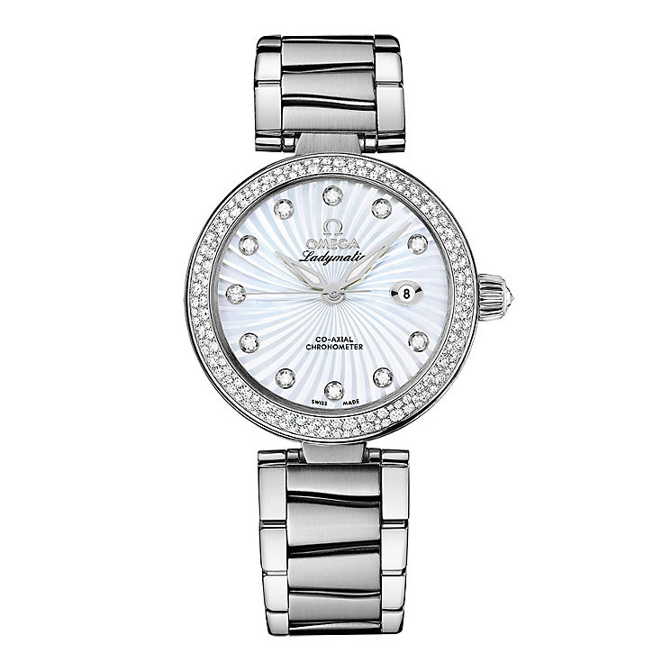 Omega Ladymatic diamond set stainless steel bracelet watch - Product number 8947031
