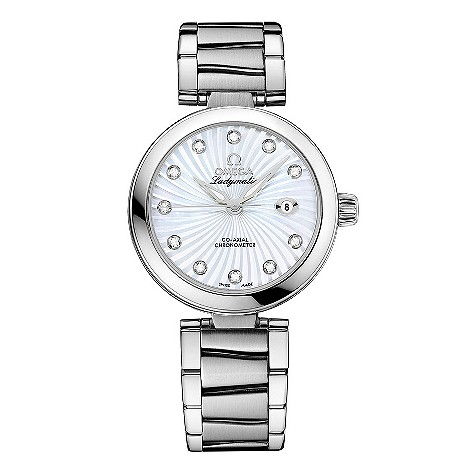 Omega Ladymatic diamond set stainless steel bracelet watch