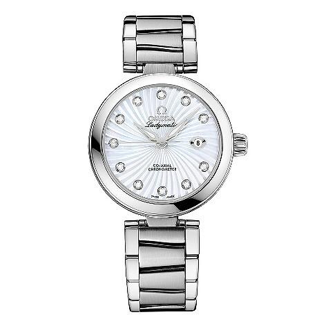 Omega Ladymatic diamond set stainless steel bracelet watch