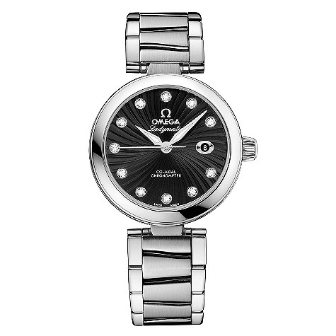 Omega Ladymatic black mother of pearl bracelet watch