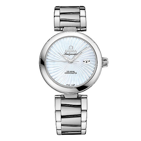 Omega Ladymatic white mother of pearl watch