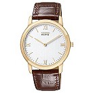 Citizen Eco-Drive gold plated & brown strap watch - Product number 8948216