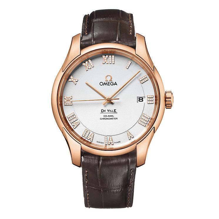 Omega De Ville men's rose gold silver dial strap watch - Product number 8948291