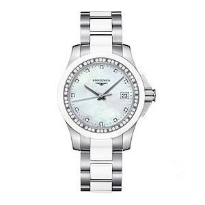 Longines Conquest ceramic diamond & stainless steel watch - Product number 8950253