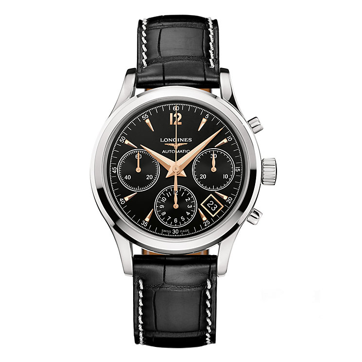 Longines men's black chronograph watch - Product number 8950431