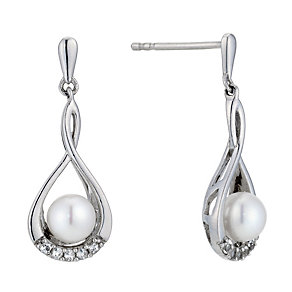 Silver, Pearl, Cubic Zirconia Figure 8 Drop Earrings - Product number 8952787