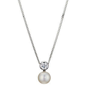 Silver, Pearl & Cubic Zirconia Bezel Pendant - Product number 8952817