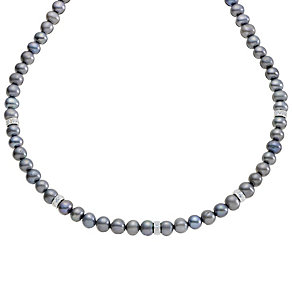 Black Freshwater Pearl & Cubic Zirconia Necklace - Product number 8952825