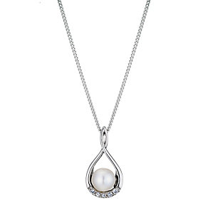 Silver, Pearl & Cubic Zirconia Figure 8 Pendant Necklace - Product number 8952922