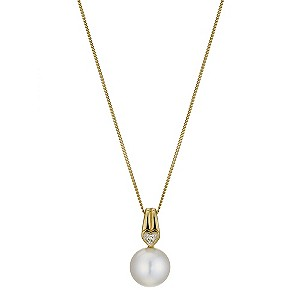 9ct Yellow Gold, Pearl & Diamond Heart Pendant - Product number 8953066
