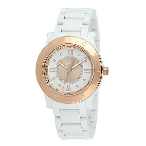 Juicy Couture ladies' rose gold plated & white strap watch - Product number 8954682