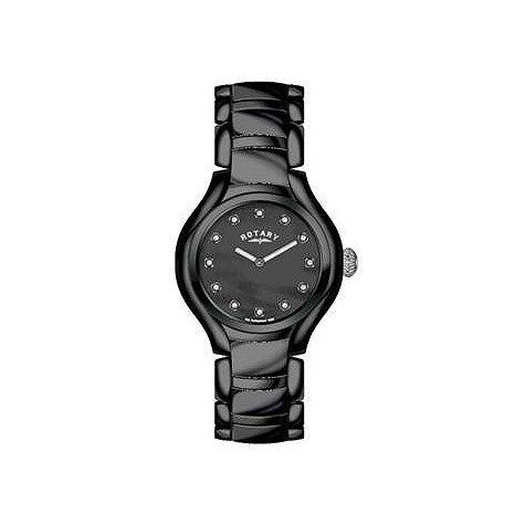 Rotary ladies' black ceramic bracelet watch