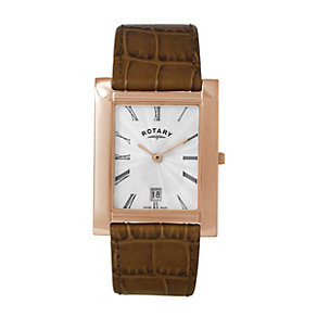 Rotary men's rose gold-plated & tan leather strap watch - Product number 8955522