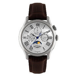 Rotary men's brown strap moonphase watch - Product number 8955565