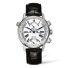 Longines men's black leather strap watch - Product number 8955743