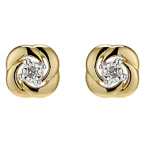9ct Yellow Gold Diamond Stud Earrings - Product number 8955883