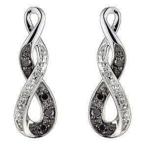 9ct White Gold  White & Black Treated Diamond Earrings - Product number 8955972