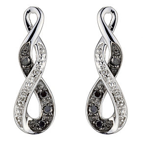Noir 9ct White Gold  White & Treated Black Diamond Earrings - Product number 8955972