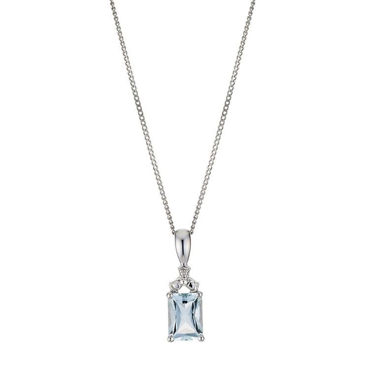 9ct White Diamond & Aquamarine Pendant Necklace - Product number 8955980