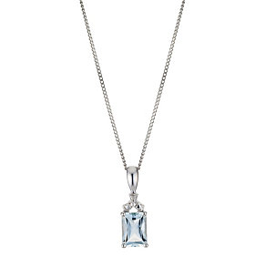 9ct White Diamond & Aquamarine Pendant Necklace - Product number 8955980