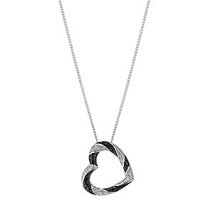 Noir Silver  White & Treated Black Diamond Pendant Necklace - Product number 8955999
