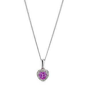 H Samuel 9ct White Gold Diamond and Pink Sapphire Heart product image