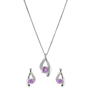 9ct White Gold Diamond & Pink Sapphire Pendant Set - Product number 8956057