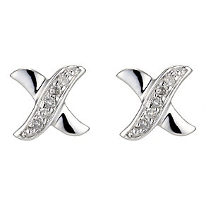 Silver & Diamond Kiss Earrings - Product number 8956162