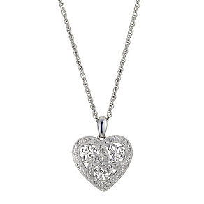Silver & Diamond Heart Pendant - Product number 8956235