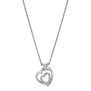 Silver & Diamond Heart Pendant - Product number 8956251