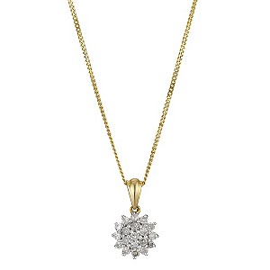 9ct Yellow Gold 1/4 Carat Diamond Cluster Pendant - Product number 8956758