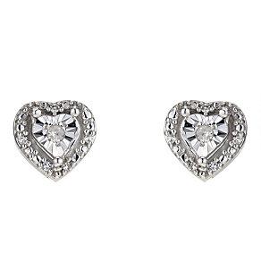 Silver Diamond Heart Stud Earrings - Product number 8956863