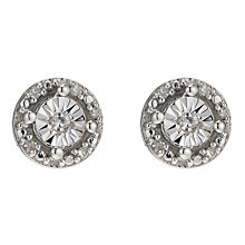 Silver & Diamond Stud Earrings - Product number 8956871