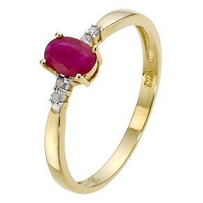 9ct Yellow Gold Diamond & Ruby Oval Ring - Product number 8958386
