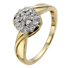 9ct Yellow Gold 1/4 Carat Diamond Cluster Ring - Product number 8958637