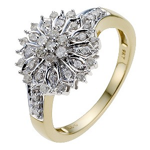 9ct Yellow Gold 1/3 Carat Diamond Cluster Ring